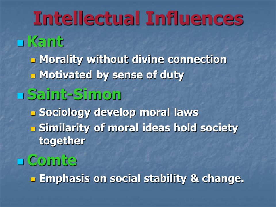 Intellectual Influences Kant Kant Morality without divine connection Morality without divine connection Motivated by sense of duty Motivated by sense of duty Saint-Simon Saint-Simon Sociology develop moral laws Sociology develop moral laws Similarity of moral ideas hold society together Similarity of moral ideas hold society together Comte Comte Emphasis on social stability & change.