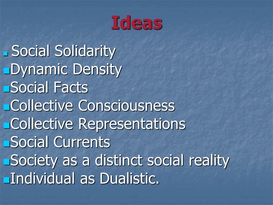 Ideas Social Solidarity Social Solidarity Dynamic Density Dynamic Density Social Facts Social Facts Collective Consciousness Collective Consciousness Collective Representations Collective Representations Social Currents Social Currents Society as a distinct social reality Society as a distinct social reality Individual as Dualistic.