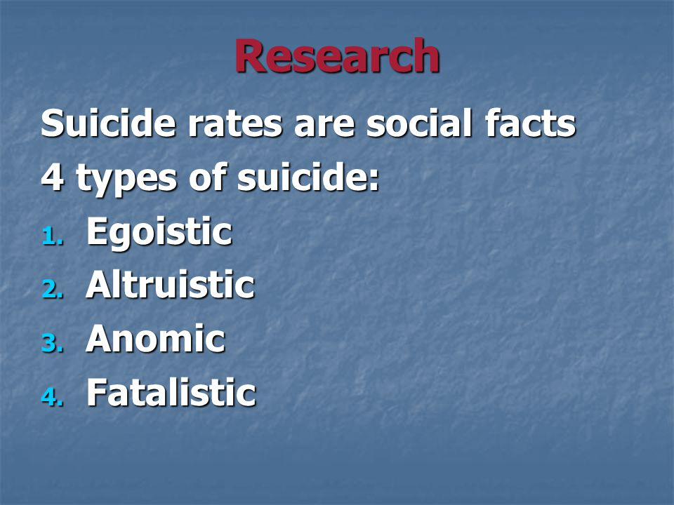 Research Suicide rates are social facts 4 types of suicide: 1.