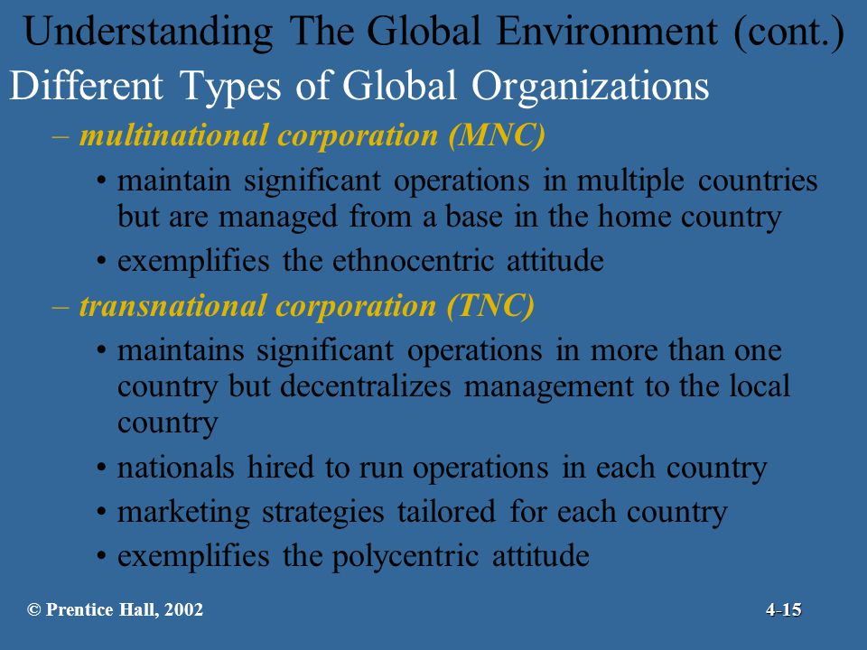 Understanding The Global Environment (cont.) Different Types of Global Organizations –multinational corporation (MNC) maintain significant operations