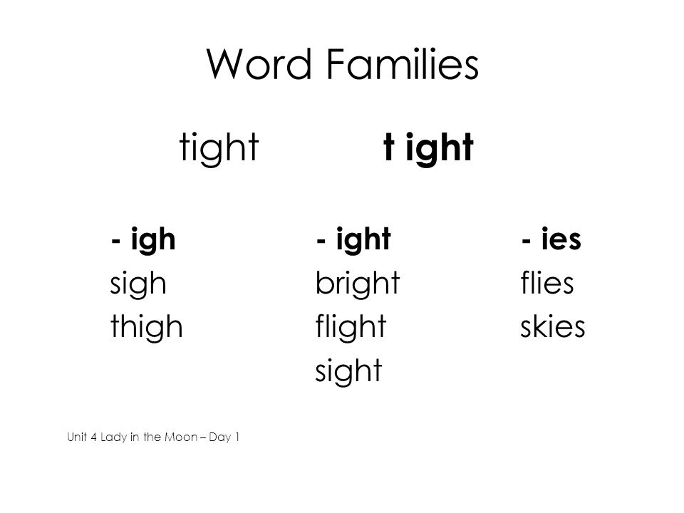 Word Families tight t ight - igh- ight- ies sighbrightflies thighflightskies sight Unit 4 Lady in the Moon – Day 1