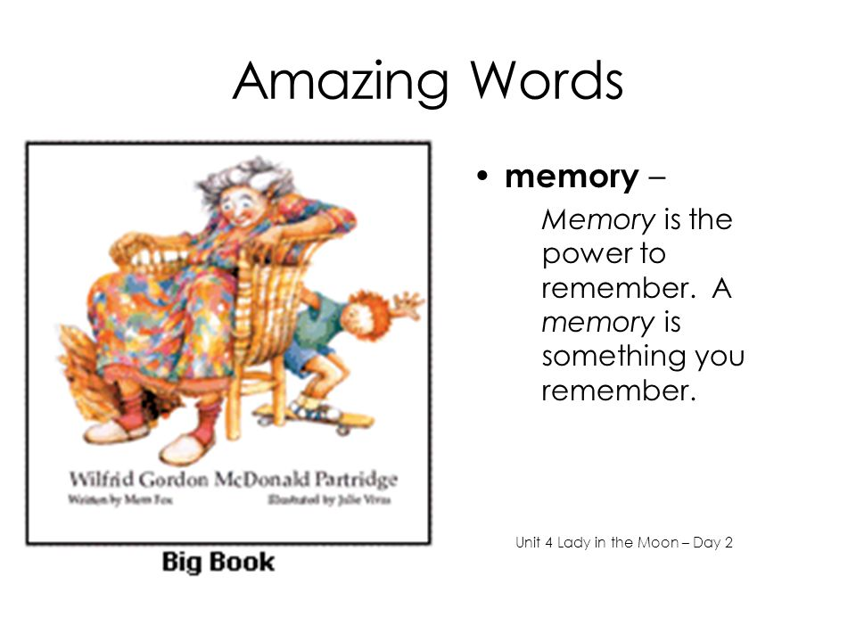 Amazing Words memory – Memory is the power to remember.