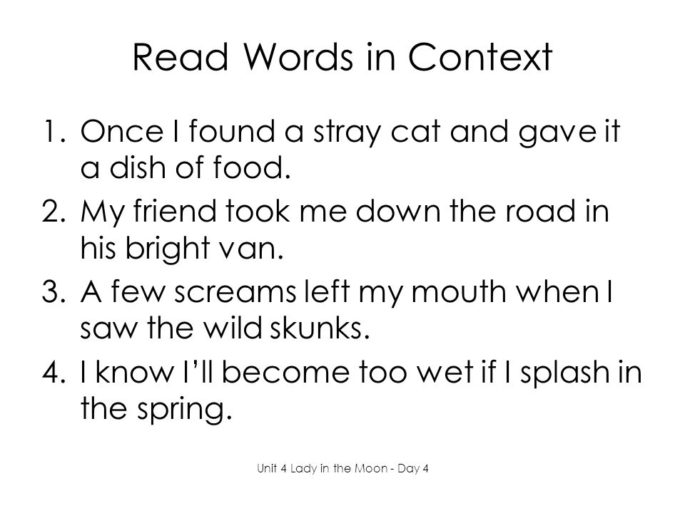 Read Words in Context 1.Once I found a stray cat and gave it a dish of food.