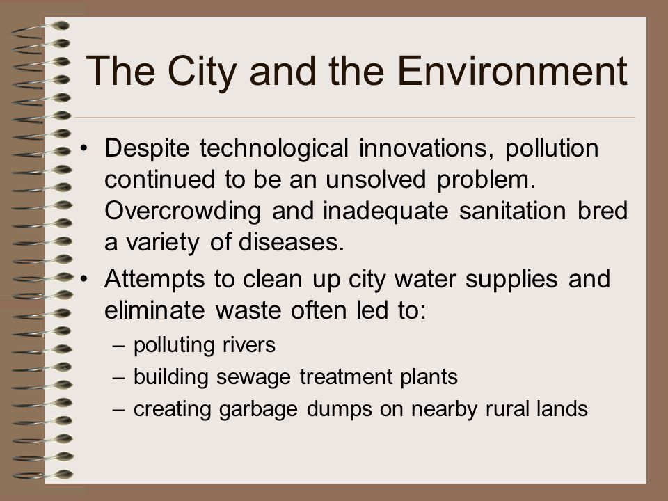 The City and the Environment Despite technological innovations, pollution continued to be an unsolved problem. Overcrowding and inadequate sanitation