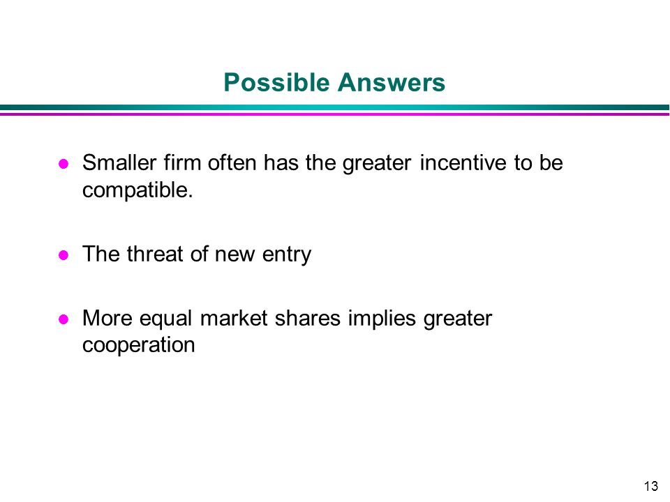 13 Possible Answers l Smaller firm often has the greater incentive to be compatible. l The threat of new entry l More equal market shares implies grea