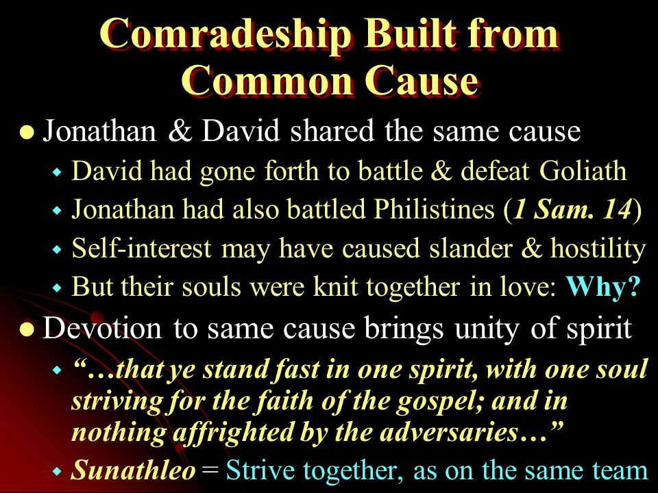 Comradeship Built from Common Cause Jonathan & David shared the same cause   David had gone forth to battle & defeat Goliath   Jonathan had also battled Philistines (1 Sam.
