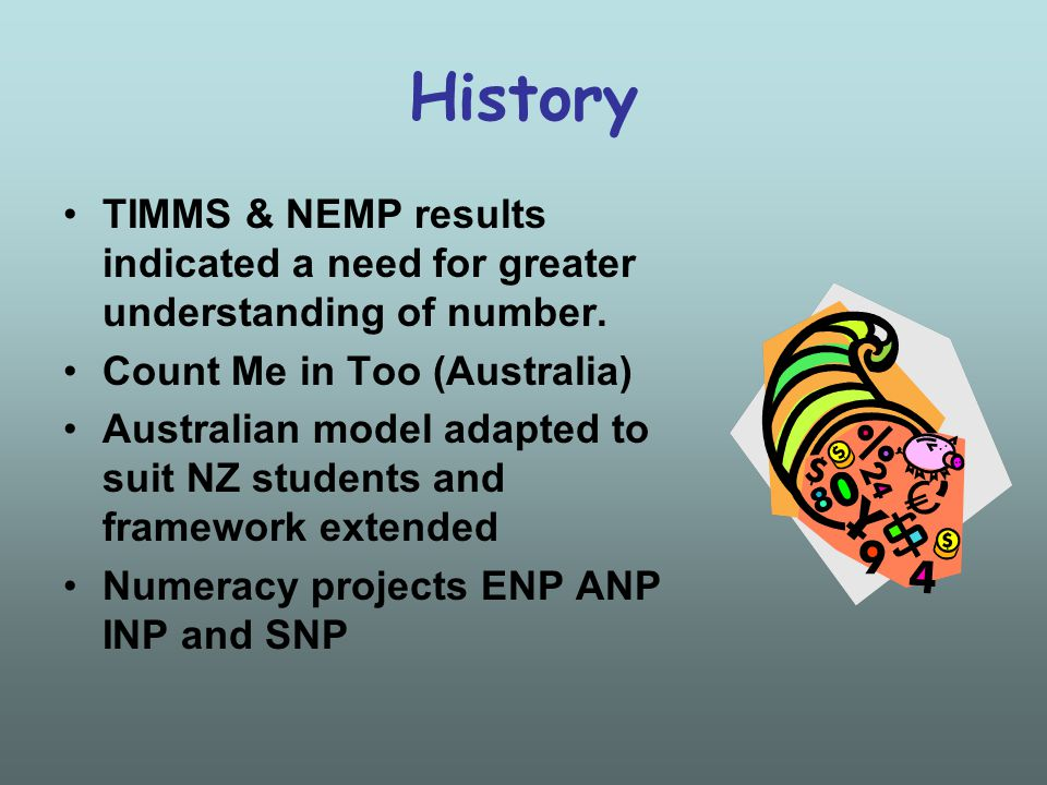 History TIMMS & NEMP results indicated a need for greater understanding of number.