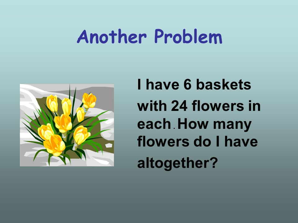 Another Problem I have 6 baskets with 24 flowers in each. How many flowers do I have altogether