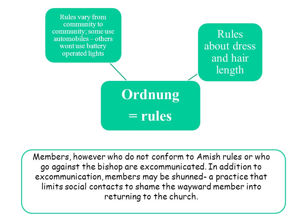 Members, however who do not conform to Amish rules or who go against the bishop are excommunicated.
