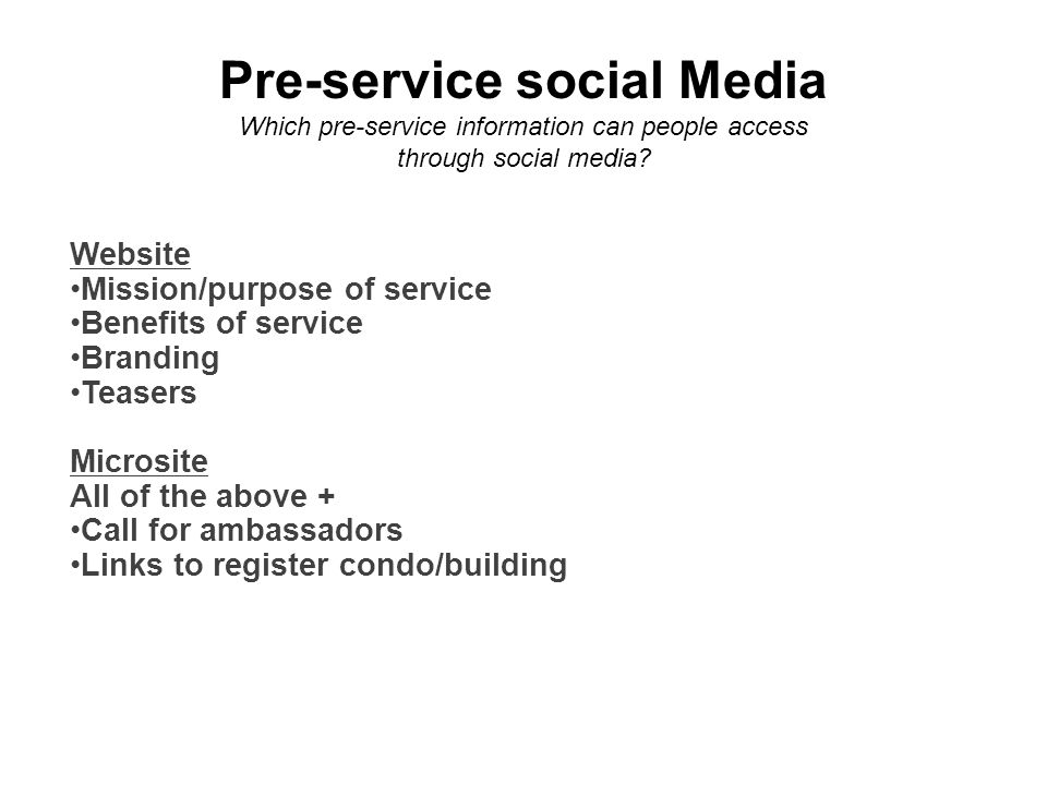 Pre-service social Media Which pre-service information can people access through social media.