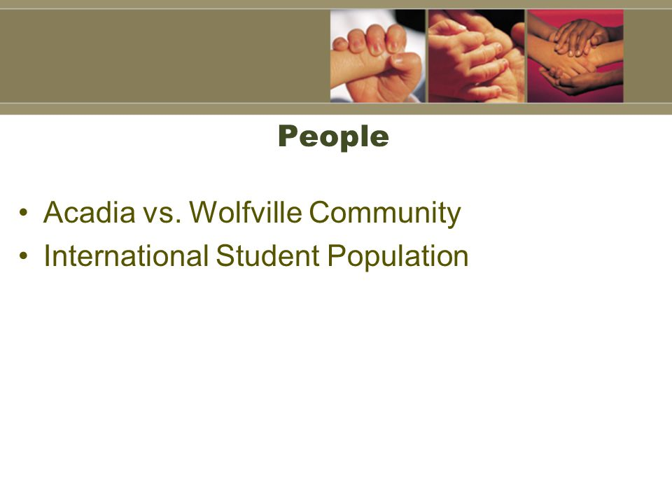 People Acadia vs. Wolfville Community International Student Population