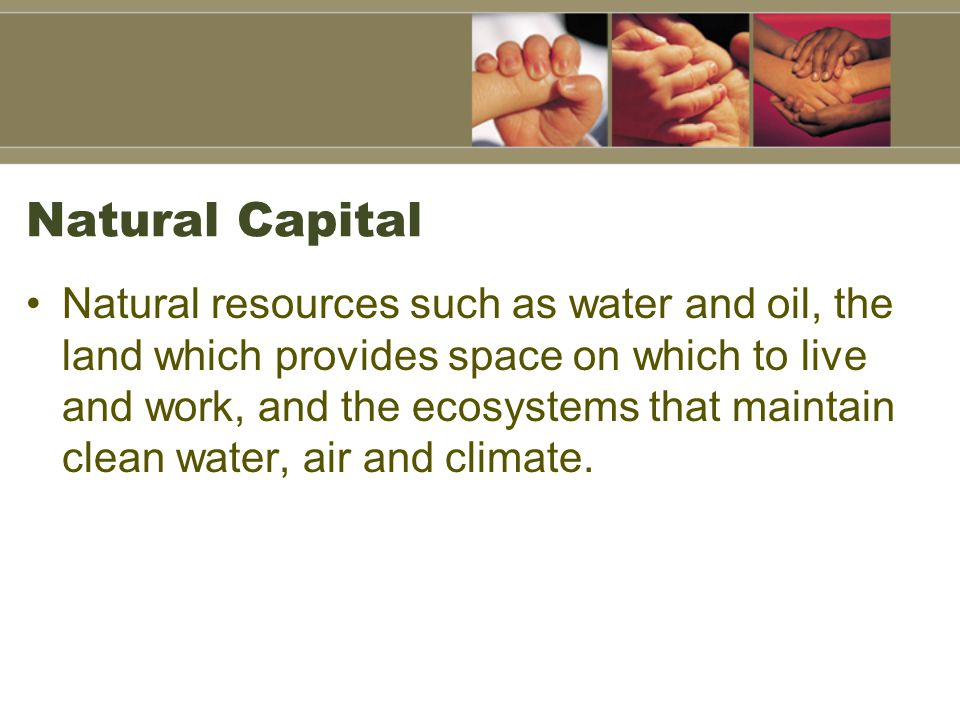 Natural resources such as water and oil, the land which provides space on which to live and work, and the ecosystems that maintain clean water, air and climate.