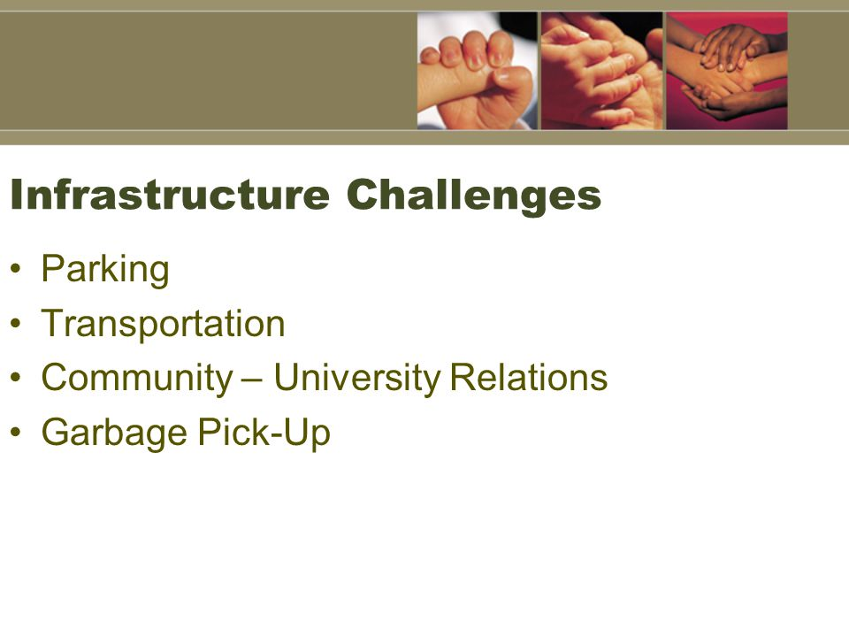 Infrastructure Challenges Parking Transportation Community – University Relations Garbage Pick-Up