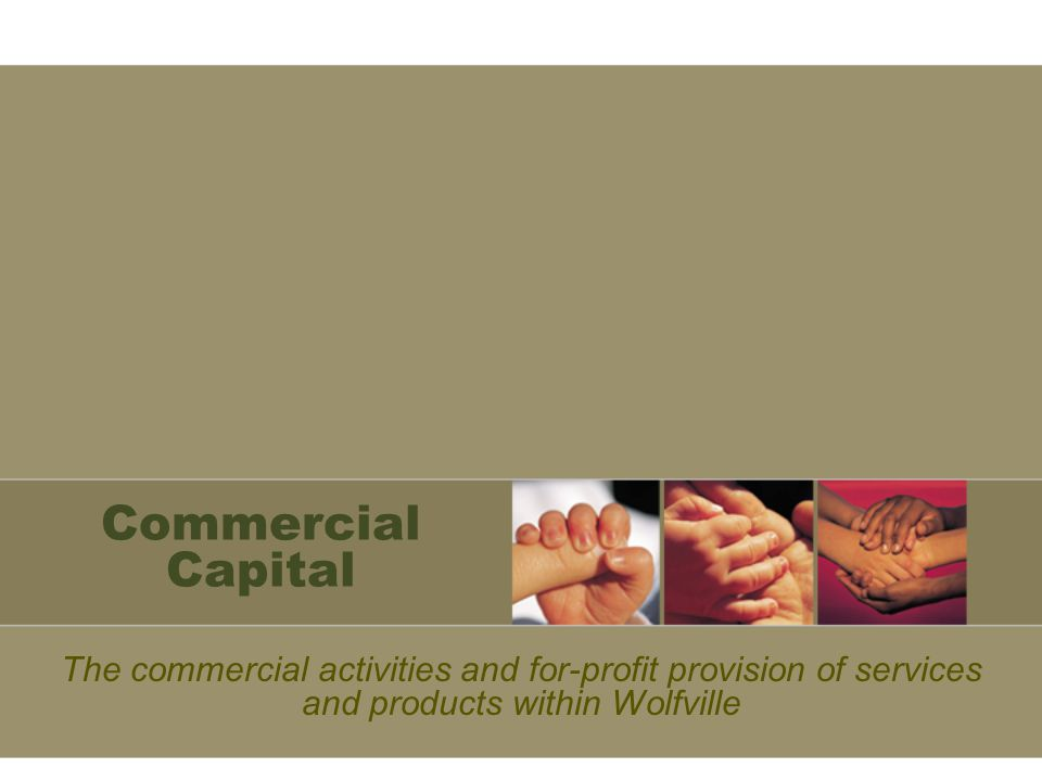 Commercial Capital The commercial activities and for-profit provision of services and products within Wolfville