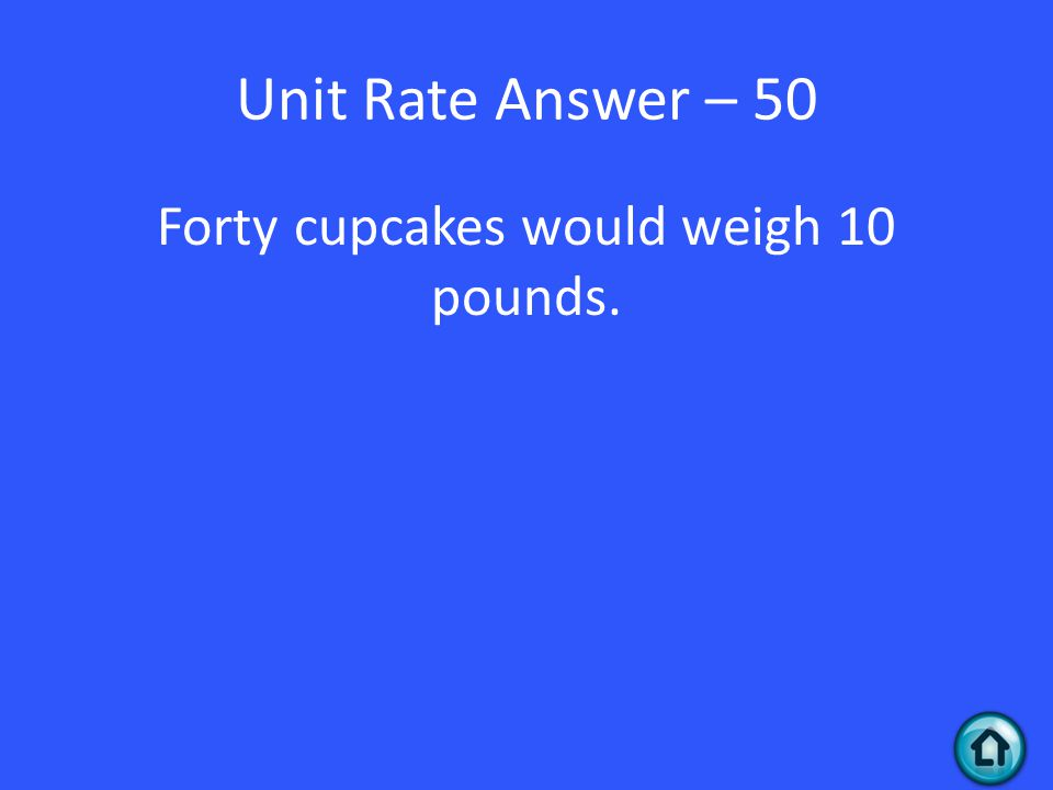 Unit Rate Answer – 50 Forty cupcakes would weigh 10 pounds.