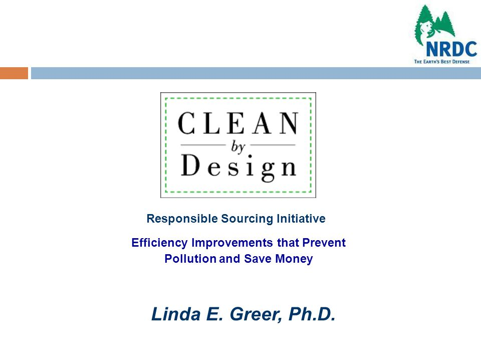 Efficiency Improvements that Prevent Pollution and Save Money Responsible Sourcing Initiative Linda E.