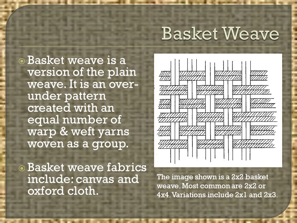  Basket weave is a version of the plain weave. It is an over- under pattern created with an equal number of warp & weft yarns woven as a group.  Bas