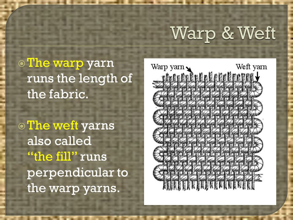 """ The warp yarn runs the length of the fabric.  The weft yarns also called """"the fill"""" runs perpendicular to the warp yarns."""