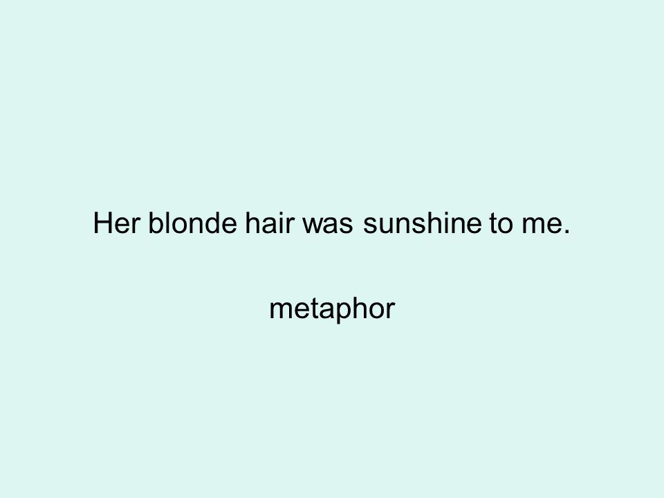 Her blonde hair was sunshine to me. metaphor
