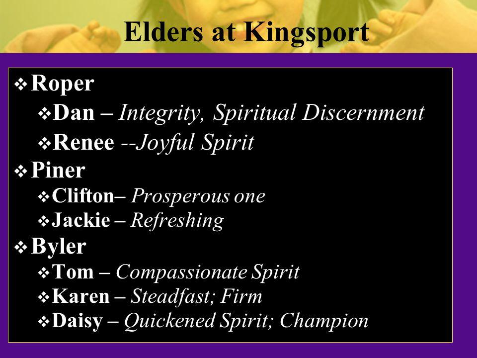 Preacher at Kingsport  Kinzel  Tom – Divinely Blessed  Pat – Noble one  The Rock Tom Byler