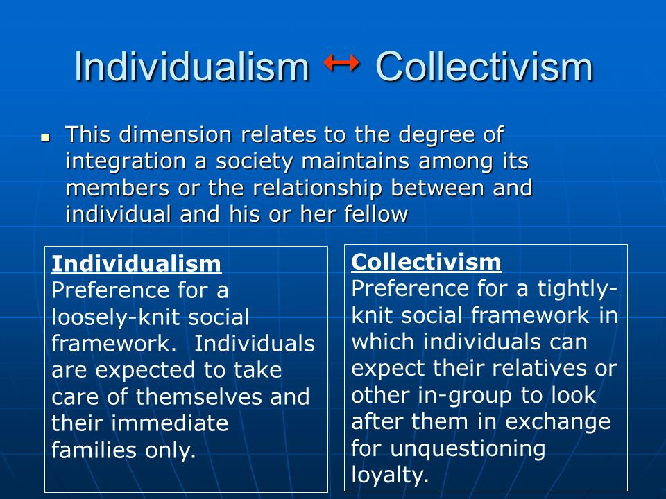 Individualism  Collectivism This dimension relates to the degree of integration a society maintains among its members or the relationship between and individual and his or her fellow This dimension relates to the degree of integration a society maintains among its members or the relationship between and individual and his or her fellow Individualism Preference for a loosely-knit social framework.