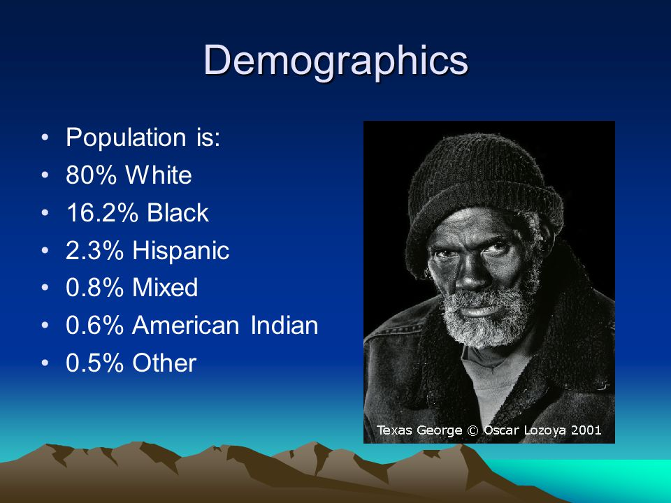 Demographics Population is: 80% White 16.2% Black 2.3% Hispanic 0.8% Mixed 0.6% American Indian 0.5% Other