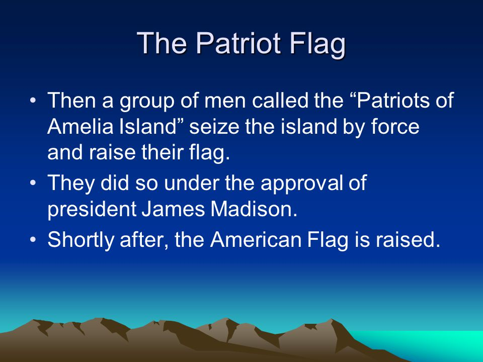 The Patriot Flag Then a group of men called the Patriots of Amelia Island seize the island by force and raise their flag.