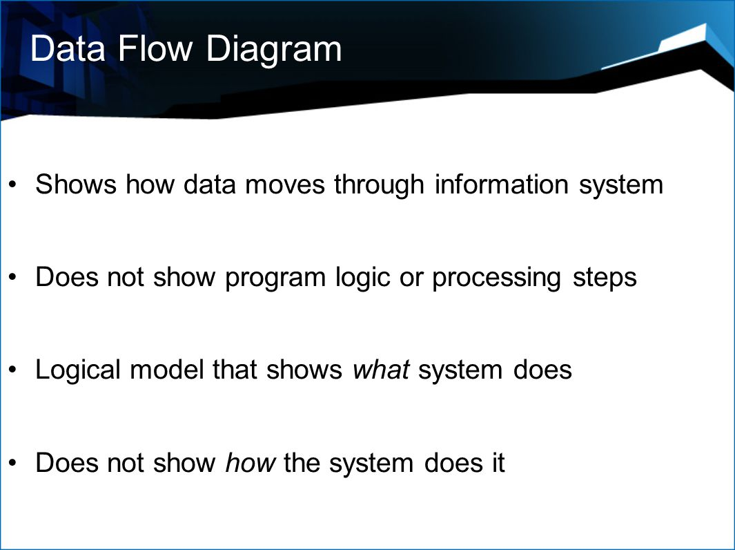 Data Flow Diagram Shows how data moves through information system Does not show program logic or processing steps Logical model that shows what system does Does not show how the system does it
