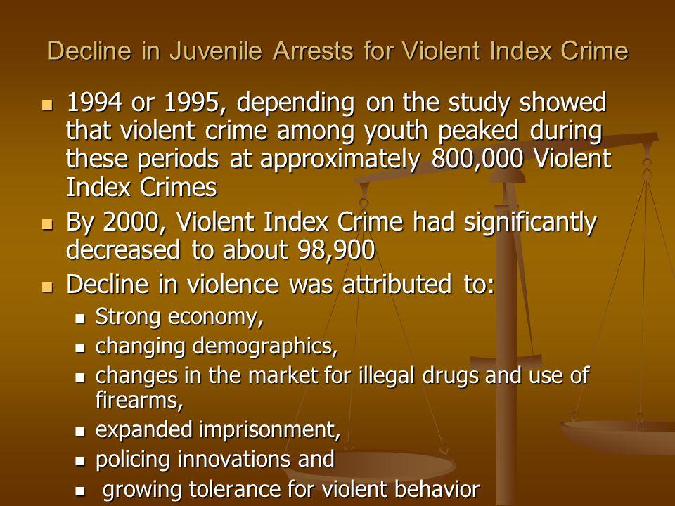 Decline in Juvenile Arrests for Violent Index Crime 1994 or 1995, depending on the study showed that violent crime among youth peaked during these per