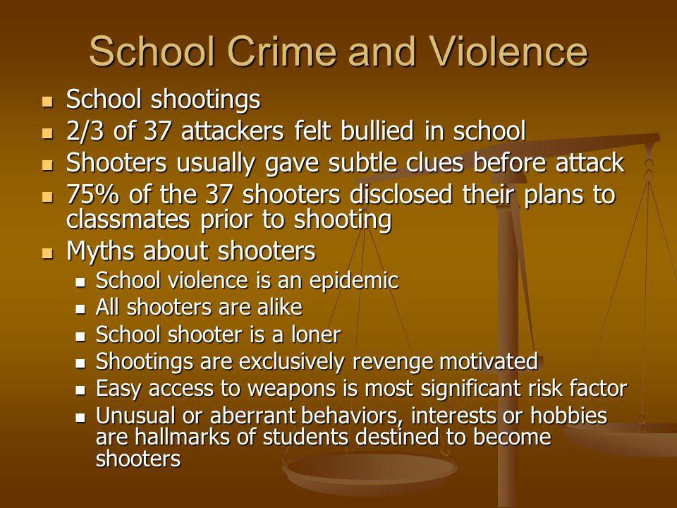 School Crime and Violence School shootings School shootings 2/3 of 37 attackers felt bullied in school 2/3 of 37 attackers felt bullied in school Shoo