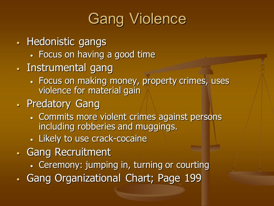 Gang Violence Hedonistic gangs Hedonistic gangs Focus on having a good time Focus on having a good time Instrumental gang Instrumental gang Focus on m