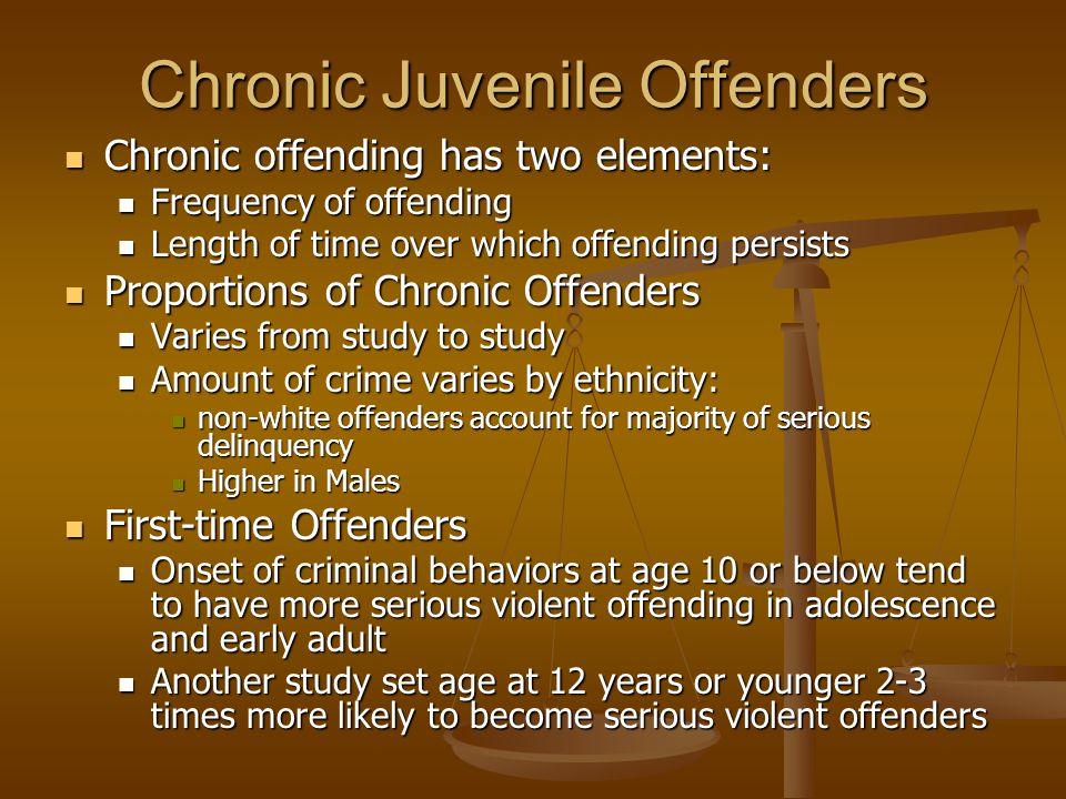 Chronic Juvenile Offenders Chronic offending has two elements: Chronic offending has two elements: Frequency of offending Frequency of offending Lengt