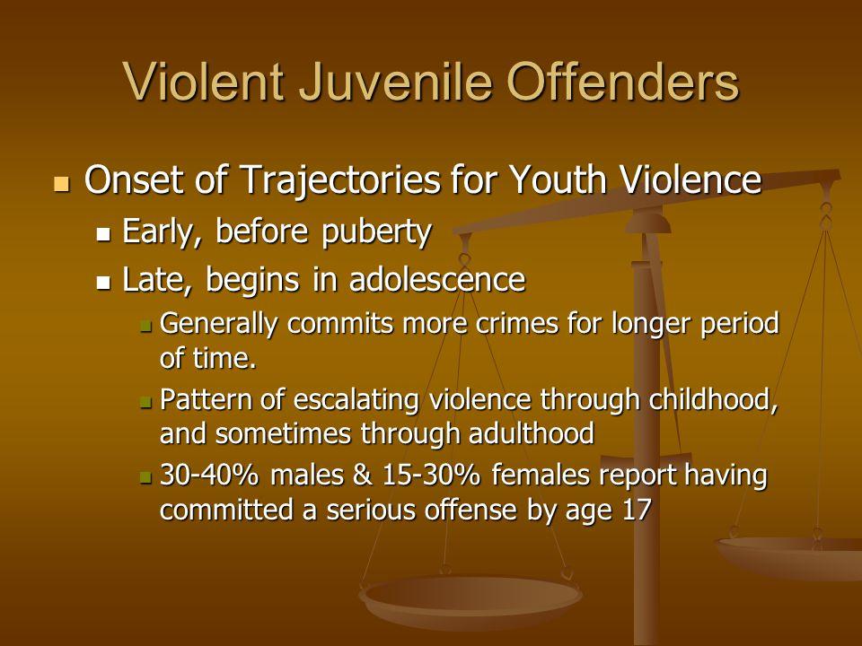 Violent Juvenile Offenders Onset of Trajectories for Youth Violence Onset of Trajectories for Youth Violence Early, before puberty Early, before puber