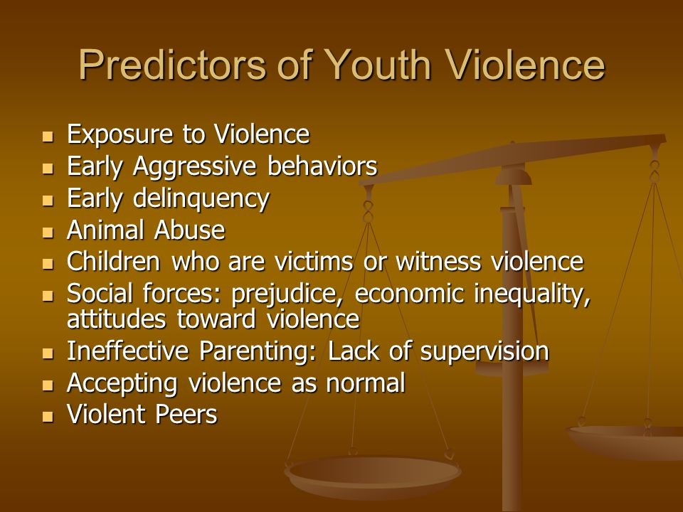 Predictors of Youth Violence Exposure to Violence Exposure to Violence Early Aggressive behaviors Early Aggressive behaviors Early delinquency Early d