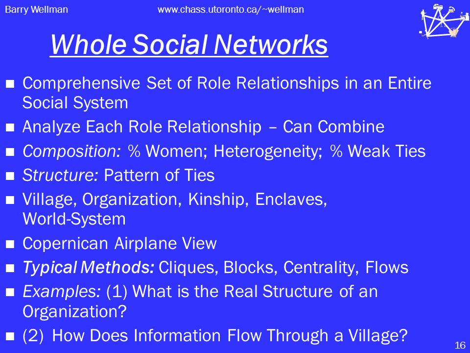 Barry Wellmanwww.chass.utoronto.ca/~wellman 16 Whole Social Networks Comprehensive Set of Role Relationships in an Entire Social System Analyze Each Role Relationship – Can Combine Composition: % Women; Heterogeneity; % Weak Ties Structure: Pattern of Ties Village, Organization, Kinship, Enclaves, World-System Copernican Airplane View Typical Methods: Cliques, Blocks, Centrality, Flows Examples: (1) What is the Real Structure of an Organization.