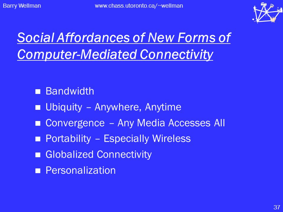 Barry Wellmanwww.chass.utoronto.ca/~wellman 37 Social Affordances of New Forms of Computer-Mediated Connectivity Bandwidth Ubiquity – Anywhere, Anytime Convergence – Any Media Accesses All Portability – Especially Wireless Globalized Connectivity Personalization