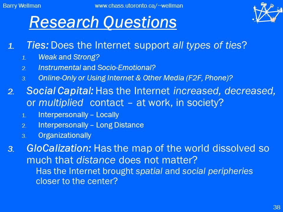Barry Wellmanwww.chass.utoronto.ca/~wellman 38 Research Questions 1.