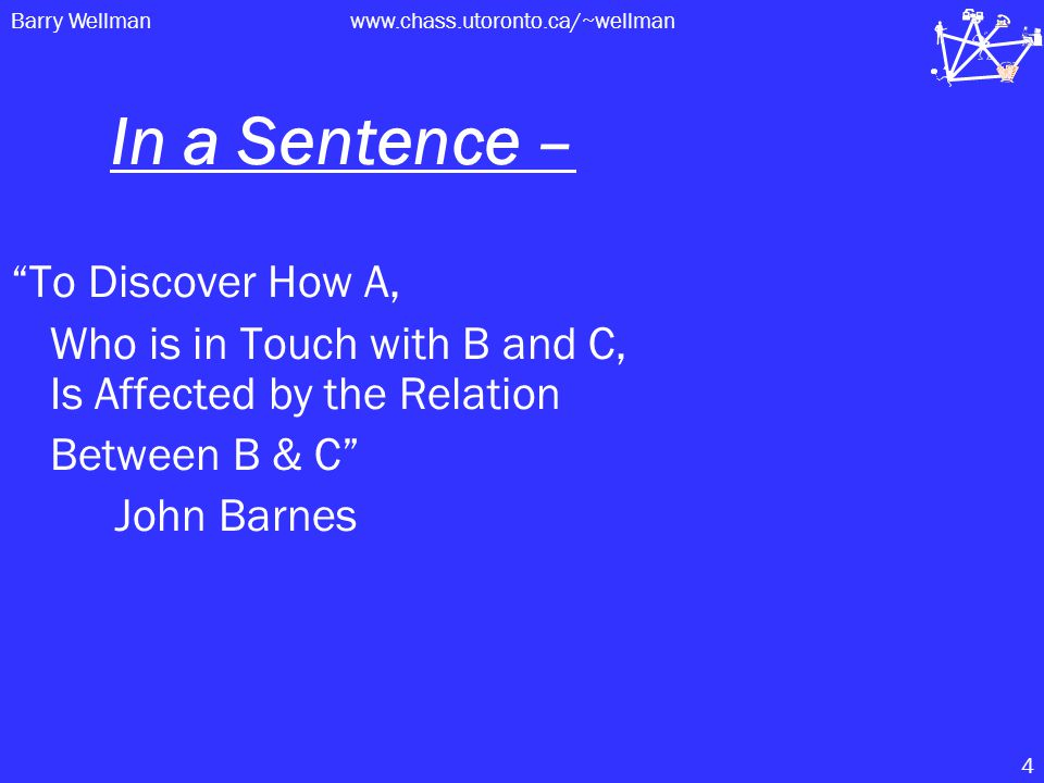 Barry Wellmanwww.chass.utoronto.ca/~wellman 4 In a Sentence – To Discover How A, Who is in Touch with B and C, Is Affected by the Relation Between B & C John Barnes