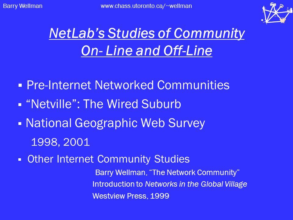 Barry Wellmanwww.chass.utoronto.ca/~wellman NetLab's Studies of Community On- Line and Off-Line  Pre-Internet Networked Communities  Netville : The Wired Suburb  National Geographic Web Survey 1998, 2001  Other Internet Community Studies Barry Wellman, The Network Community Introduction to Networks in the Global Village Westview Press, 1999