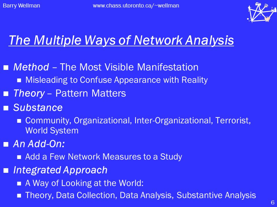 Barry Wellmanwww.chass.utoronto.ca/~wellman 6 The Multiple Ways of Network Analysis Method – The Most Visible Manifestation Misleading to Confuse Appearance with Reality Theory – Pattern Matters Substance Community, Organizational, Inter-Organizational, Terrorist, World System An Add-On: Add a Few Network Measures to a Study Integrated Approach A Way of Looking at the World: Theory, Data Collection, Data Analysis, Substantive Analysis