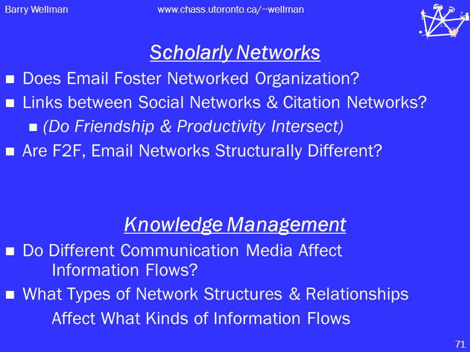 Barry Wellmanwww.chass.utoronto.ca/~wellman 71 Scholarly Networks Does Email Foster Networked Organization.