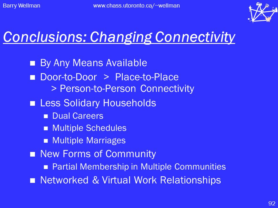 Barry Wellmanwww.chass.utoronto.ca/~wellman 92 Conclusions: Changing Connectivity By Any Means Available Door-to-Door > Place-to-Place > Person-to-Person Connectivity Less Solidary Households Dual Careers Multiple Schedules Multiple Marriages New Forms of Community Partial Membership in Multiple Communities Networked & Virtual Work Relationships