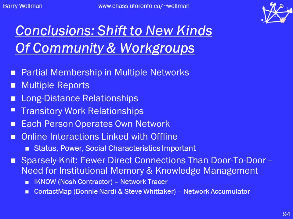 Barry Wellmanwww.chass.utoronto.ca/~wellman 94 Conclusions: Shift to New Kinds Of Community & Workgroups Partial Membership in Multiple Networks Multiple Reports Long-Distance Relationships  Transitory Work Relationships Each Person Operates Own Network Online Interactions Linked with Offline Status, Power, Social Characteristics Important Sparsely-Knit: Fewer Direct Connections Than Door-To-Door -- Need for Institutional Memory & Knowledge Management IKNOW (Nosh Contractor) – Network Tracer ContactMap (Bonnie Nardi & Steve Whittaker) – Network Accumulator