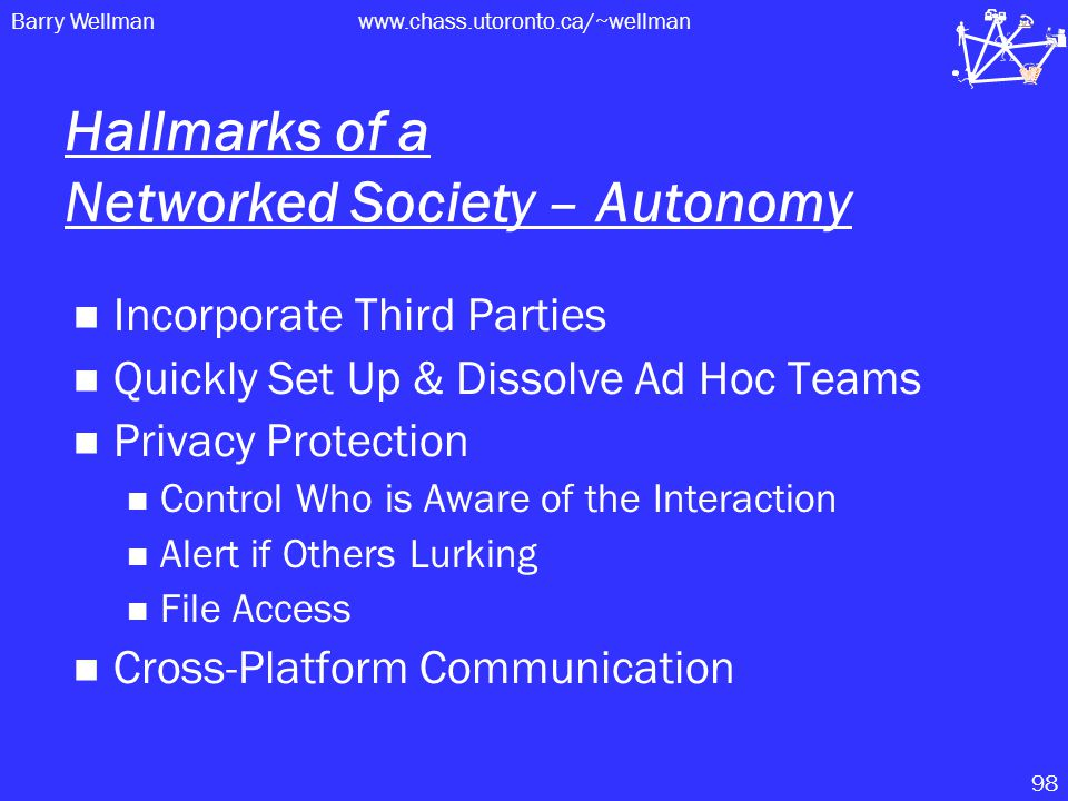Barry Wellmanwww.chass.utoronto.ca/~wellman 98 Hallmarks of a Networked Society – Autonomy Incorporate Third Parties Quickly Set Up & Dissolve Ad Hoc Teams Privacy Protection Control Who is Aware of the Interaction Alert if Others Lurking File Access Cross-Platform Communication