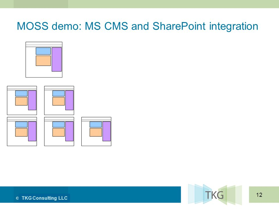 TKG Consulting LLC 12 MOSS demo: MS CMS and SharePoint integration