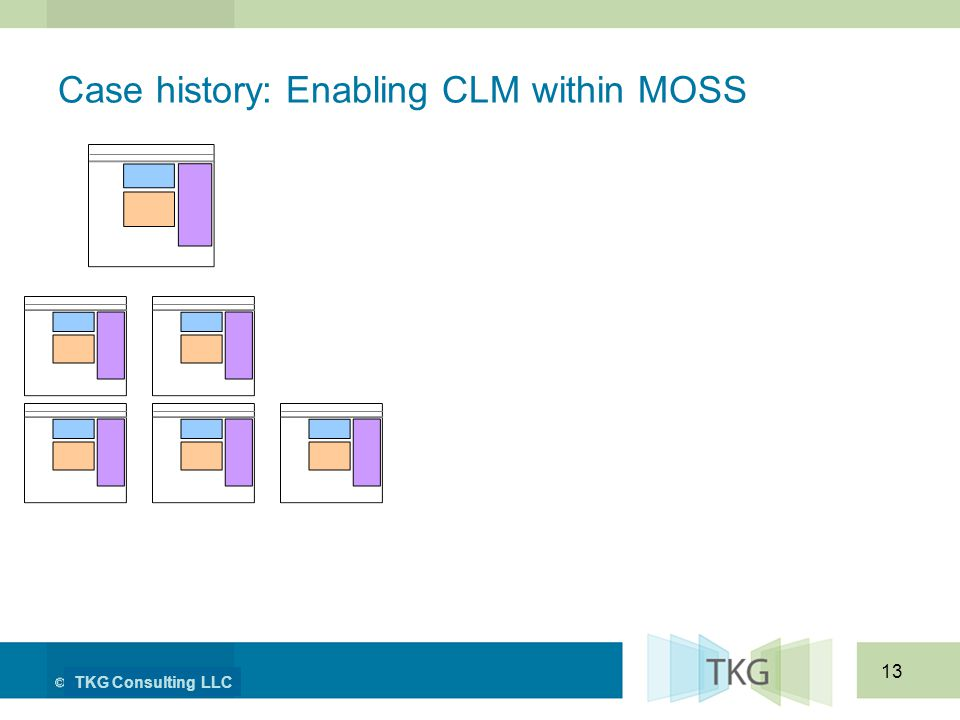 TKG Consulting LLC 13 Case history: Enabling CLM within MOSS