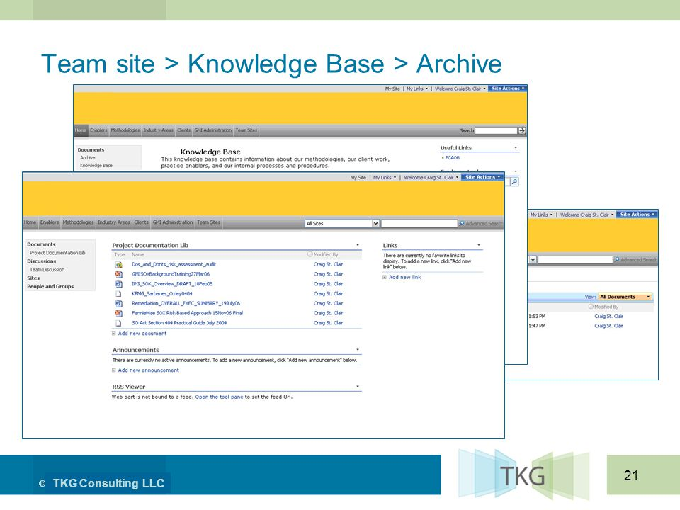 TKG Consulting LLC 21 Team site > Knowledge Base > Archive