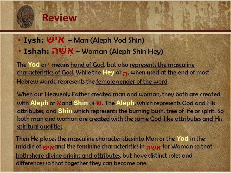 Review When our Heavenly Father created man and woman, they both are created with Aleph or א and Shin or ש.