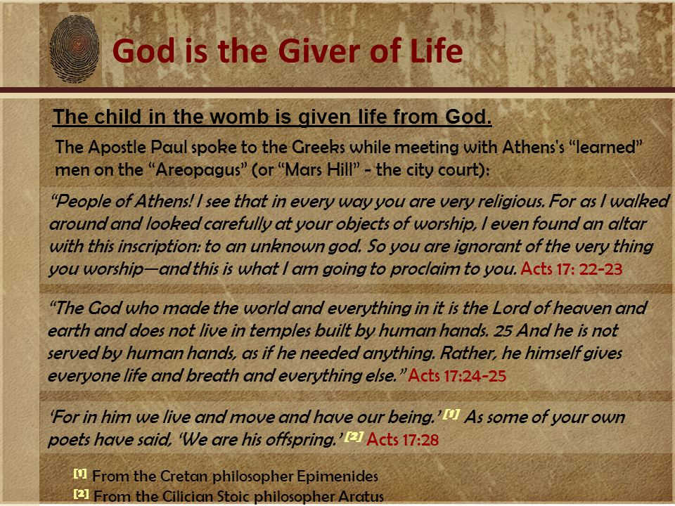 The child in the womb is given life from God.