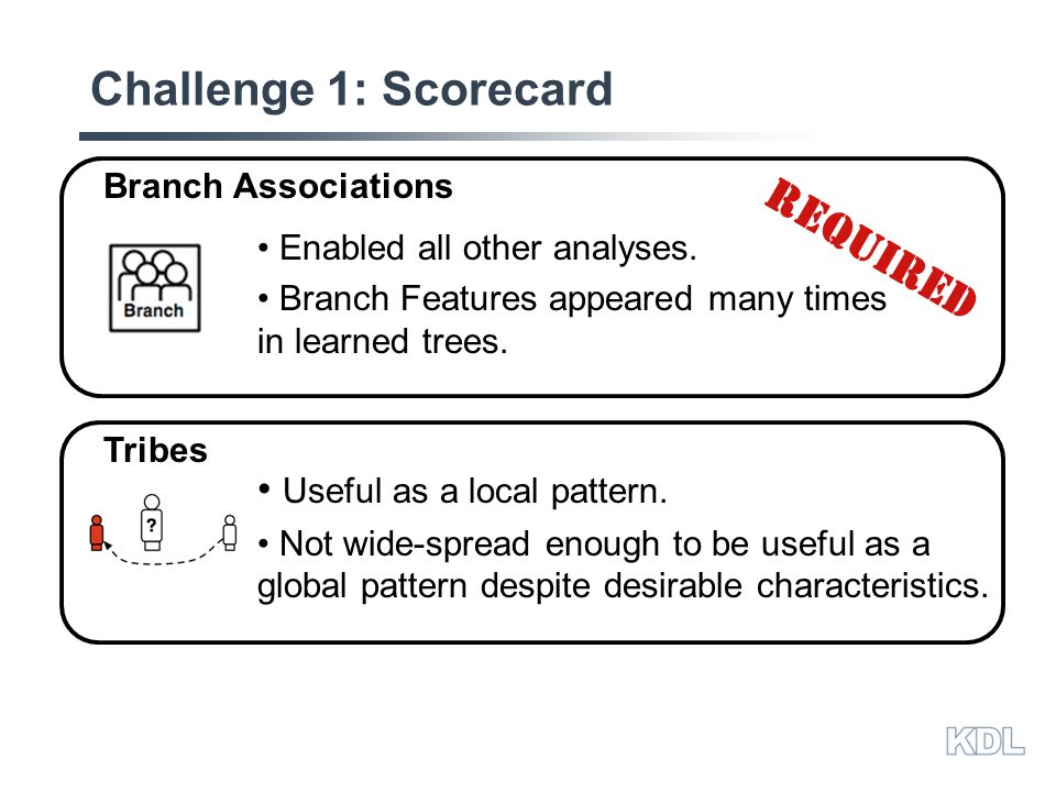 Challenge 1: Scorecard Enabled all other analyses.